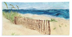 Beach Towel featuring the painting Folly Field Fence by Kathryn Riley Parker