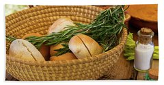 Beach Towel featuring the photograph Food - Bread - Rolls And Rosemary by Mike Savad
