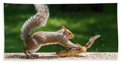 Food Fight Squirrel And Chipmunk Beach Towel