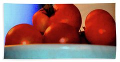 Beach Towel featuring the photograph Food Vine Ripe And Ready Tomato Art by Lesa Fine