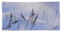 Foot Prints In The Snow Beach Sheet by Kathy Russell