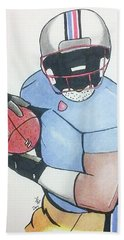 Football Player Beach Towel by Loretta Nash