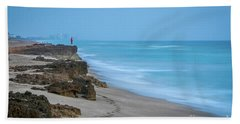 Footprints And Rocks Beach Towel