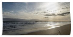 Beach Sheet featuring the photograph Footprints In The Sand by Linda Lees