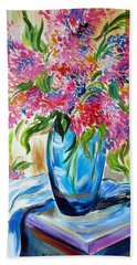 For The Love Of Flowers In A Blue Vase Beach Sheet