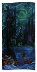 Beach Towel featuring the painting Forbidden Forest by Christophe Ennis