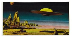 Forbidden Planet In Cinemascope Retro Classic Movie Poster Detailing Flying Saucer Beach Towel