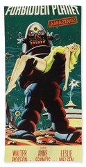 Forbidden Planet In Cinemascope Retro Classic Movie Poster Portraite Beach Towel