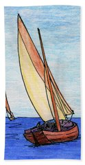 Force Of The Wind On The Sails Beach Sheet by R Kyllo