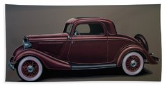 Ford 3 Window Coupe 1933 Painting Beach Towel