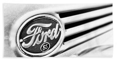 Beach Towel featuring the photograph Ford 85 In Black And White by Caitlyn Grasso