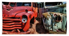Ford And Chevy Standoff Beach Sheet by Jeffrey Jensen