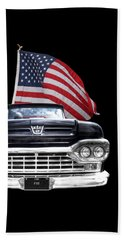 Ford F100 With U.s.flag On Black Beach Sheet