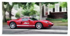 Beach Towel featuring the photograph Ford Gt Entering Lake Mills by Joel Witmeyer
