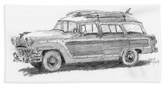 Ford Wagon Sketch Beach Towel