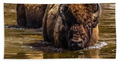 Beach Towel featuring the photograph Fording The Madison River by Yeates Photography