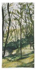 Forest By The Lake Beach Towel by Manuela Constantin