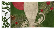 Forest Holiday Christmas Owl Beach Towel