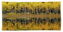 Beach Towel featuring the photograph Forest Lake Reflection by Dustin LeFevre