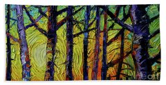 Forest Layers 1 - Modern Impressionist Palette Knives Oil Painting Beach Towel