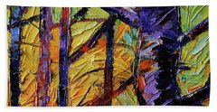 Forest Layers 2 - Modern Impressionist Palette Knives Oil Painting Beach Towel