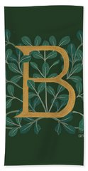 Forest Leaves Letter B Beach Towel