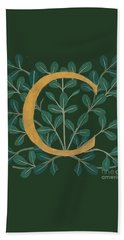 Forest Leaves Letter C Beach Towel