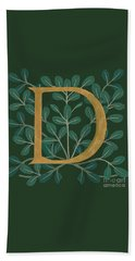 Forest Leaves Letter D Beach Towel