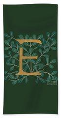 Forest Leaves Letter E Beach Towel