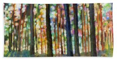 Beach Towel featuring the painting Forest Light by Hailey E Herrera
