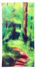 Beach Sheet featuring the painting Forest Path by Denise Tomasura