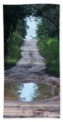 Forest Road And Puddle Beach Towel