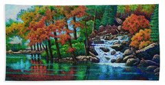 Beach Towel featuring the painting Forest Stream II by Michael Frank