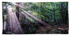 Forest Sunbeams Beach Towel