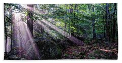 Forest Sunbeams Beach Towel