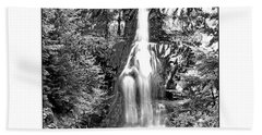 Forest Waterfall In Bw Beach Towel