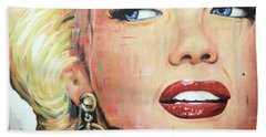 Forever Young - Marilyn Monroe Portrait Face Art Painting Beach Towel