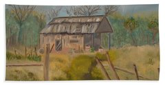 Forgotten And Misty Country Shed Beach Towel