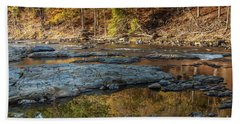 Beach Towel featuring the photograph Fork River Reflection In Fall by Iris Greenwell