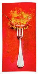 Forking Hot Food Beach Towel
