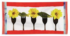 Forks And Flowers Beach Towel by Paula Ayers