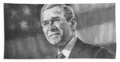 Former Pres. George W. Bush With An American Flag Beach Towel by Michelle Flanagan