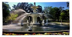 Forsyth Fountain In Spring Beach Towel