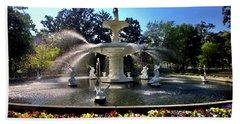 Forsyth Fountain In Spring Beach Sheet