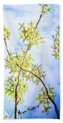 Beach Towel featuring the painting Forsythia by Monique Faella