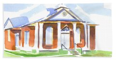 Beach Towel featuring the painting Fort Hill Methodist Church by Kip DeVore