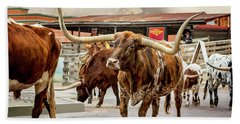 Fort Worth Cattle Drive Beach Towel