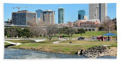 Fort Worth Trinity Park Beach Towel by Frozen in Time Fine Art Photography