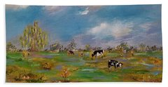 Beach Towel featuring the painting Forty Acres by Judith Rhue