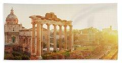Forum - Roman Ruins In Rome At Sunrise Beach Towel by Anastasy Yarmolovich